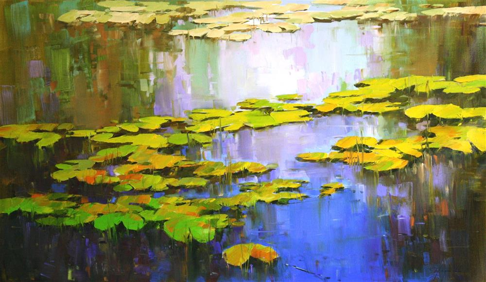 """WATERLILIES ORIGINAL OIL PAINTING LARGE SIZE"" original fine art by V Yeremyan"
