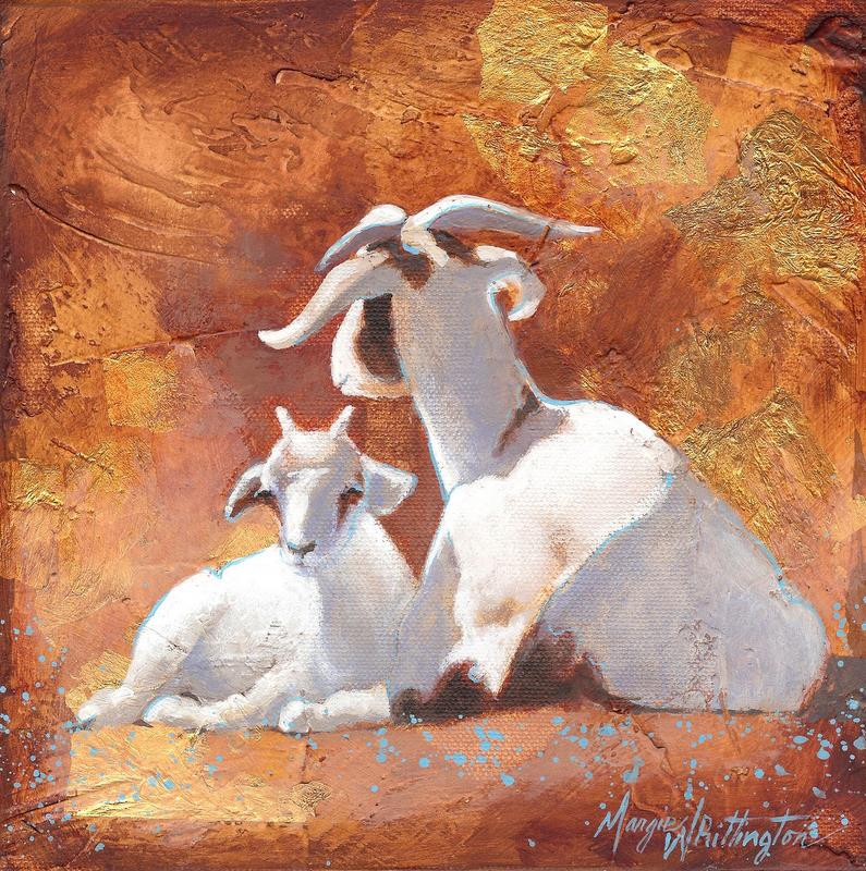 """Goat and Kid"" original fine art by Margie Whittington"