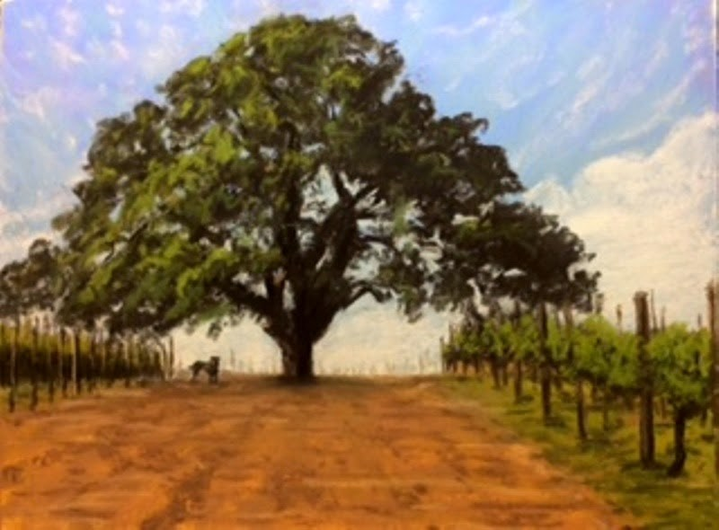 """Beau & The Big Oak"" original fine art by Marti Walker"