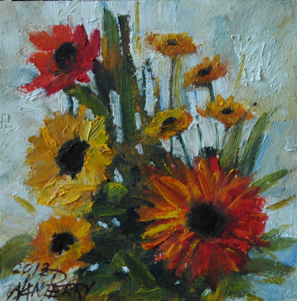 """Zinnias "" original fine art by Nan Perry"