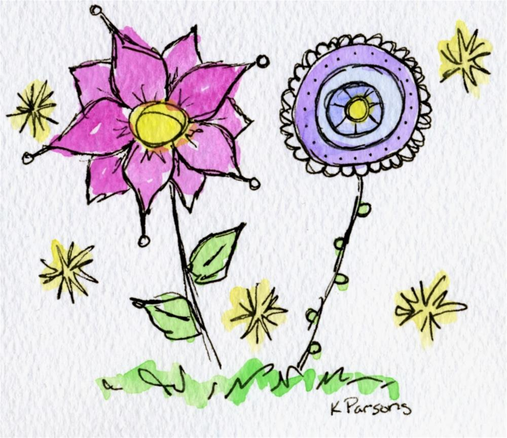 """Blooming Buddies"" original fine art by Kali Parsons"