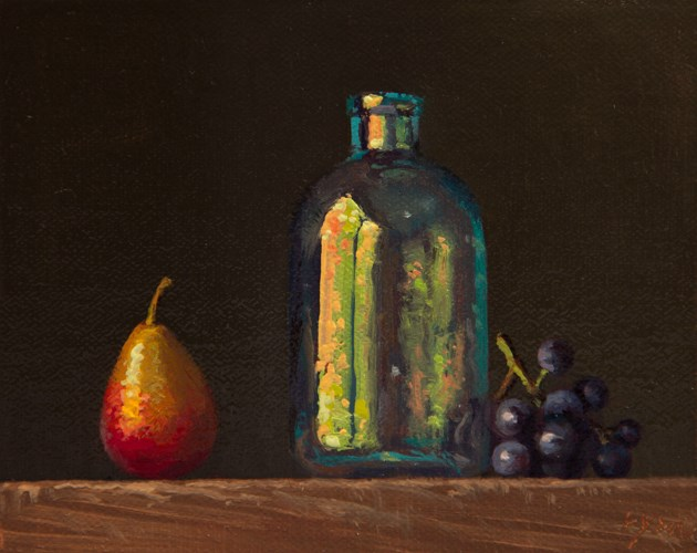 """Still life with Seckel Pear, Glass Bottle, and Concord Grapes"" original fine art by Abbey Ryan"
