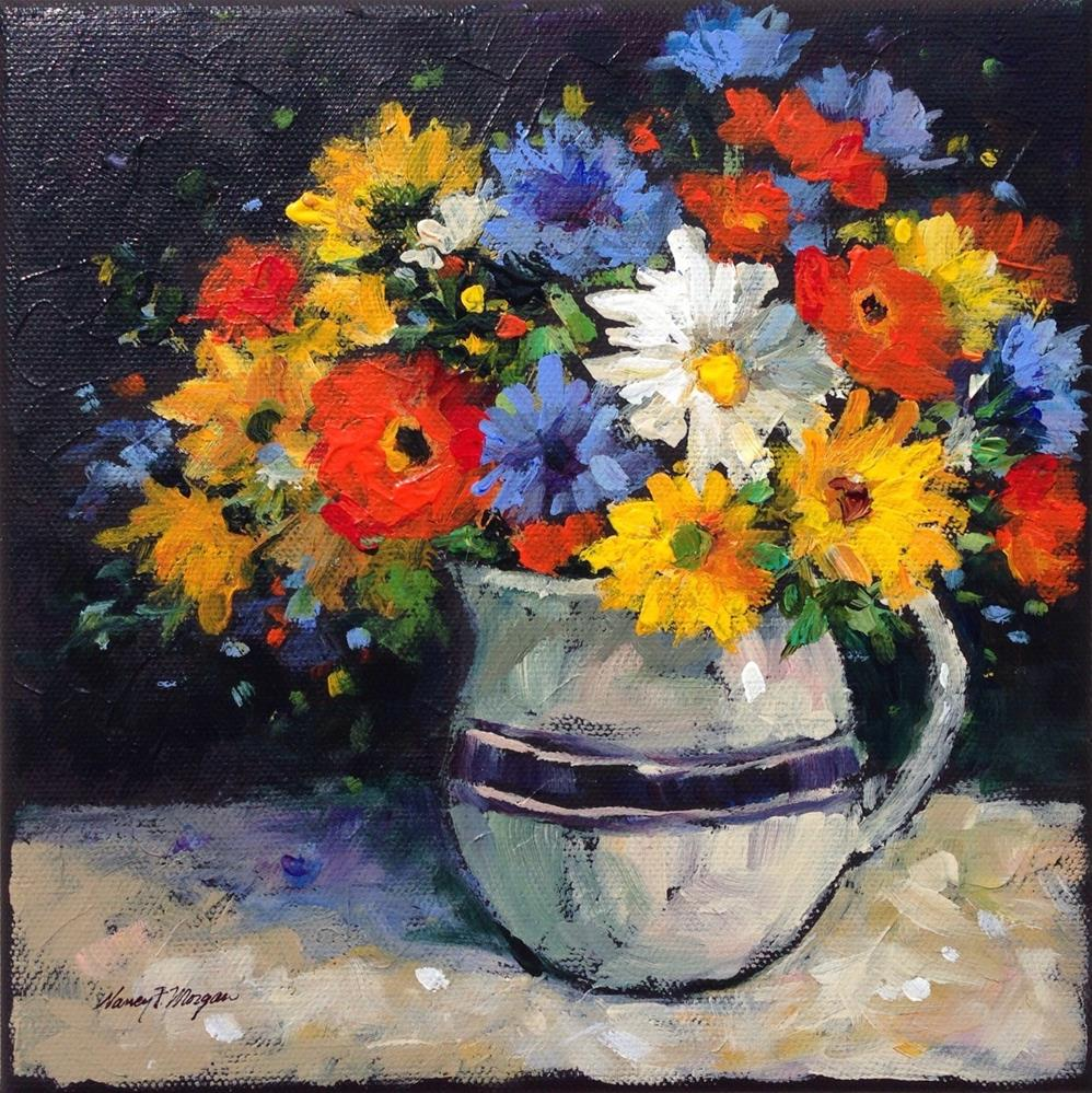"""""""Poppies and Daisies"""" original fine art by Nancy F. Morgan"""