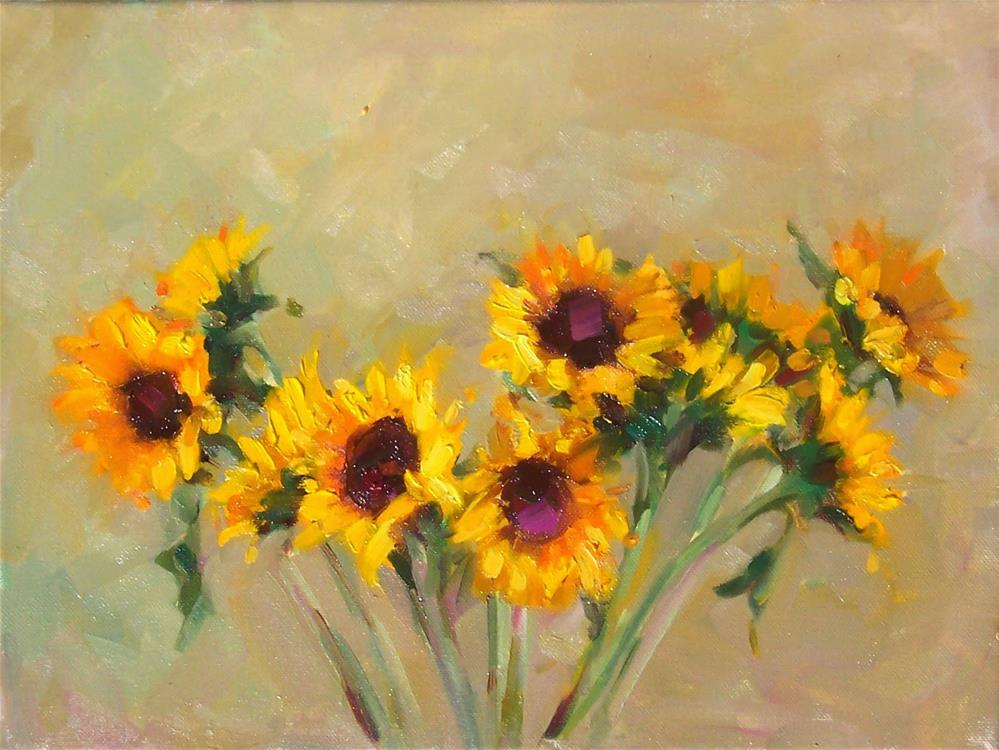 """Sunflowers,still life,oil on canvas,12x16,priceNFS"" original fine art by Joy Olney"
