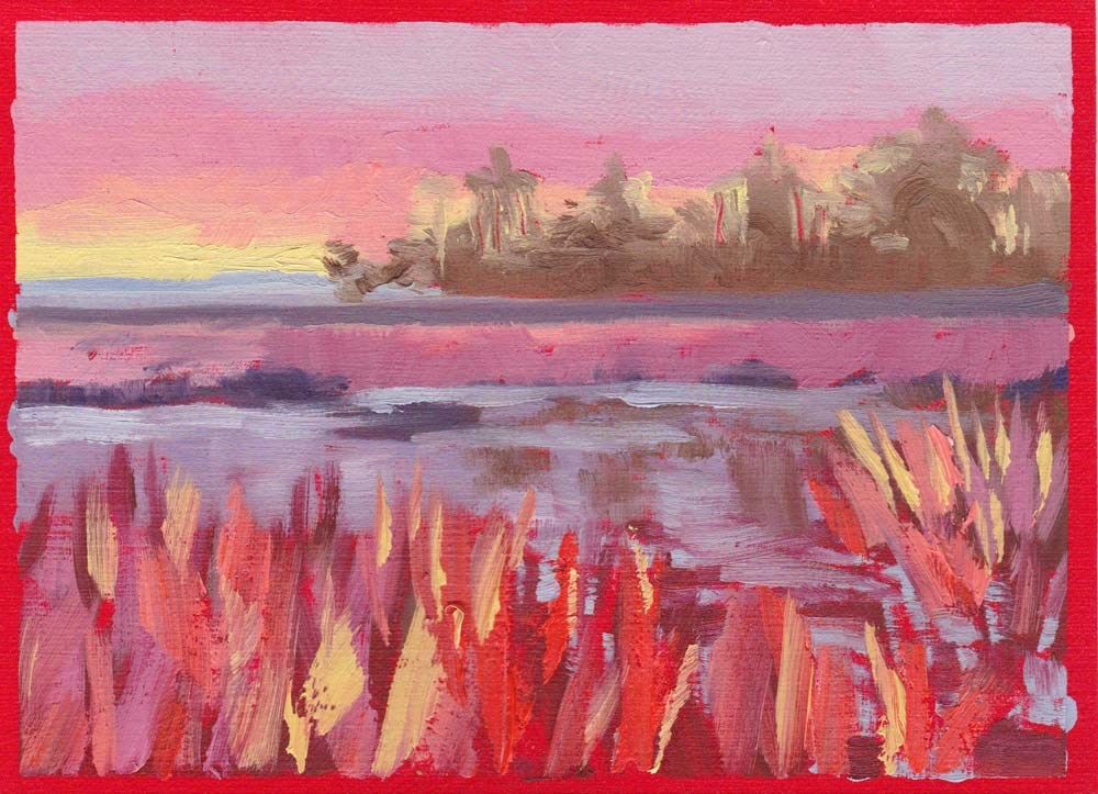 """Study for Marsh Sunset"" original fine art by Lucinda Howe"