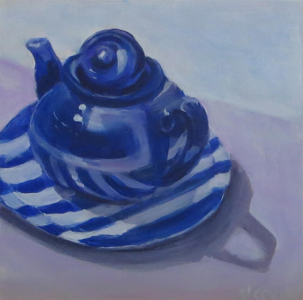 """Blue tea pot on a stiped plate"" original fine art by Janice Cook"