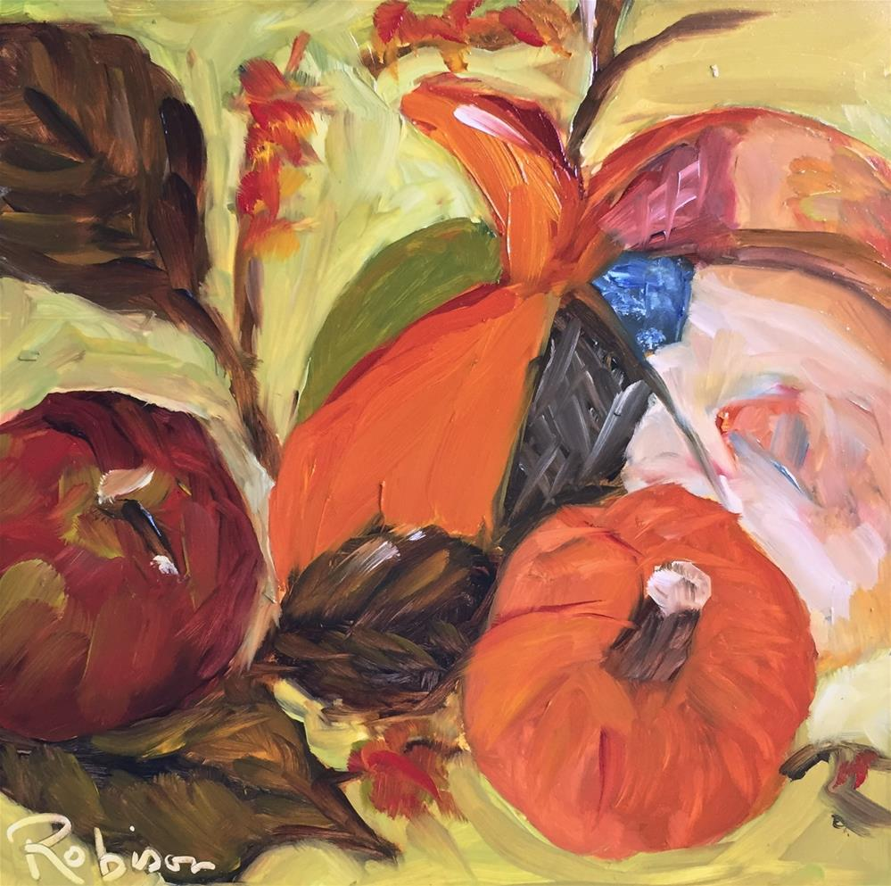 """Patchwork Pumpkin"" original fine art by Renee Robison"