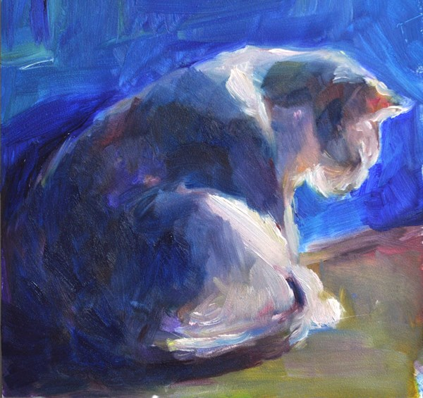 """Cat in Blue Doorway"" original fine art by Sharon Savitz"
