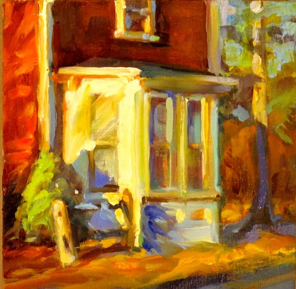 """Red House White Porch"" original fine art by Karen Bruson"