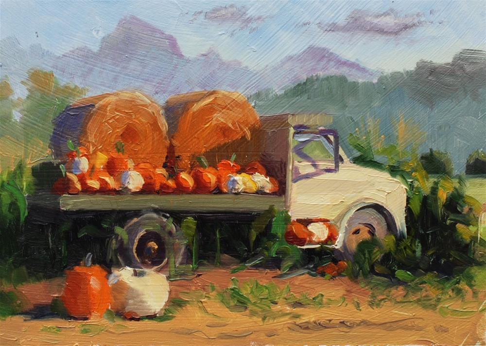 """No. 750 Baily's White Truck - Plein Air"" original fine art by Susan McManamen"