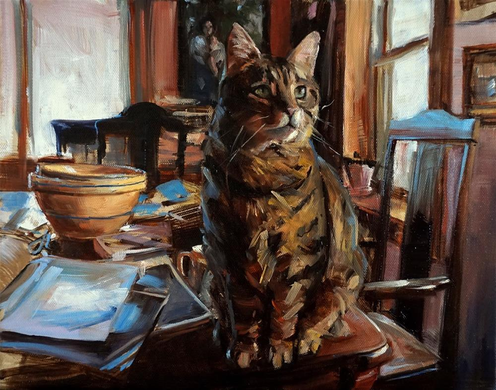 """Cat on a Messy Table II"" original fine art by Jonelle Summerfield"