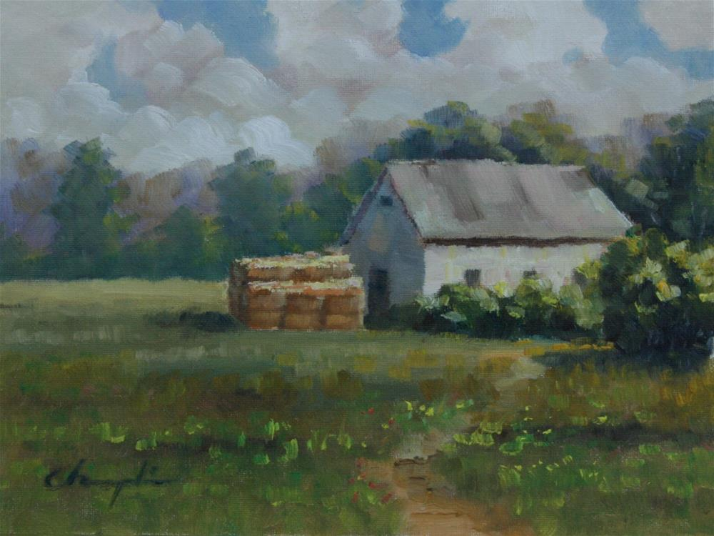 """Barn and Hay in Summer"" original fine art by Chuang Liu"