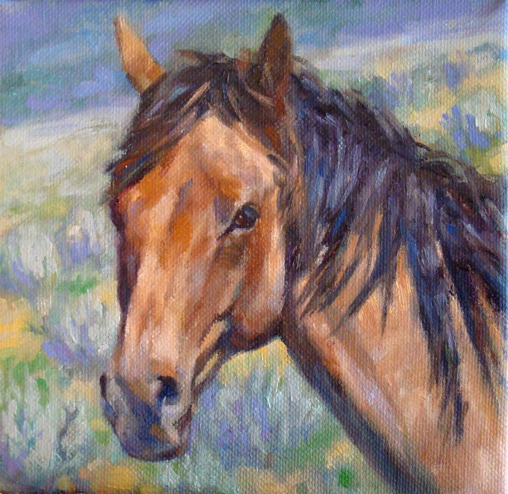 """Roan Horse and Sagebrush"" original fine art by Trish Stevenson"