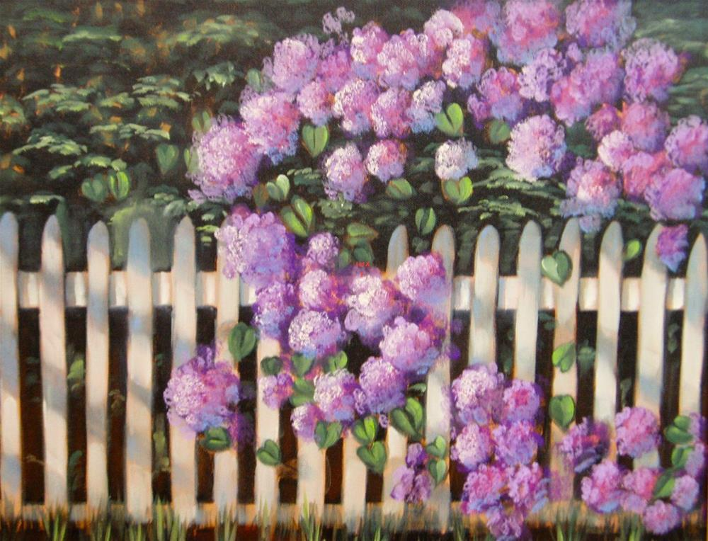 """Lilacs Over Picket Fence"" original fine art by Barbara Wagner"