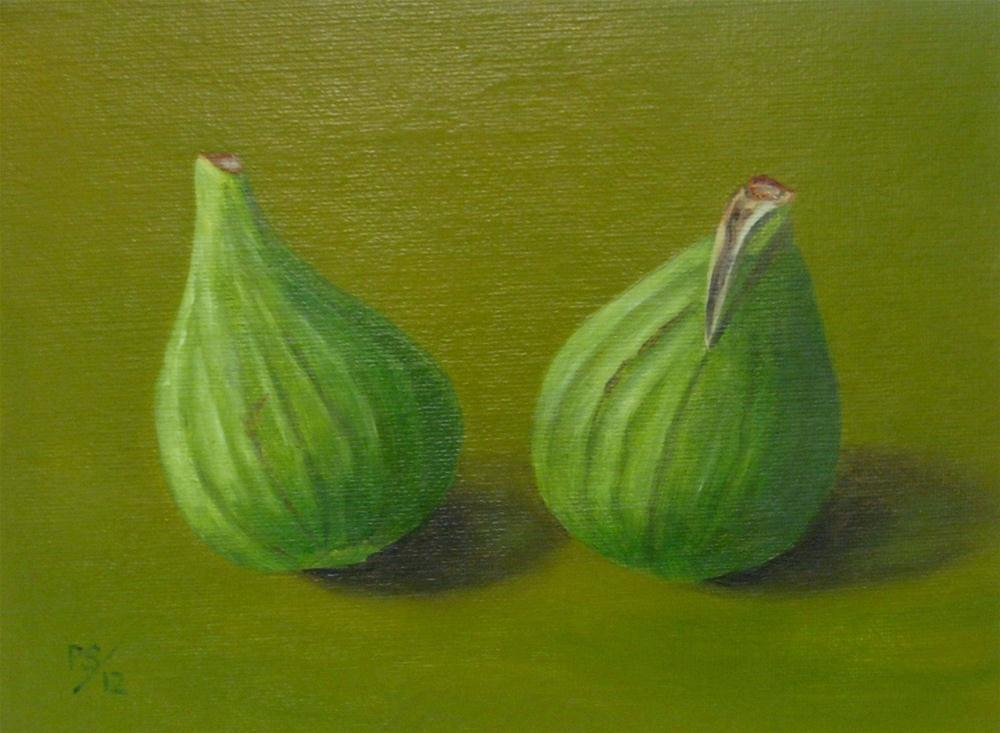 """Two green Figs"" original fine art by Pera Schillings"