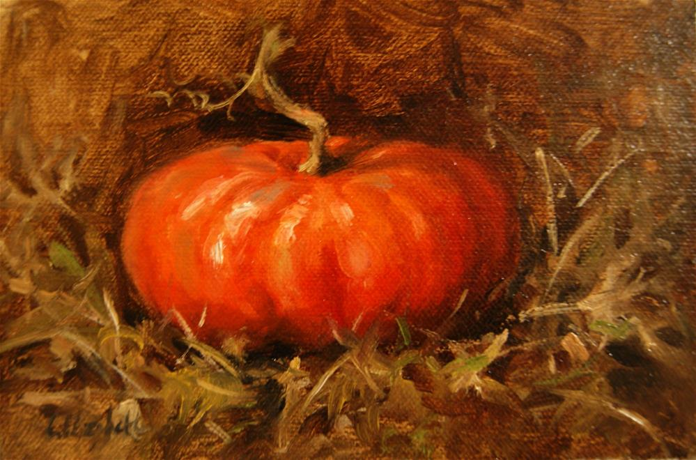 """Cinderella Pumpkin ,  Oil on 4x6 Linen Panel"" original fine art by Carolina Elizabeth"