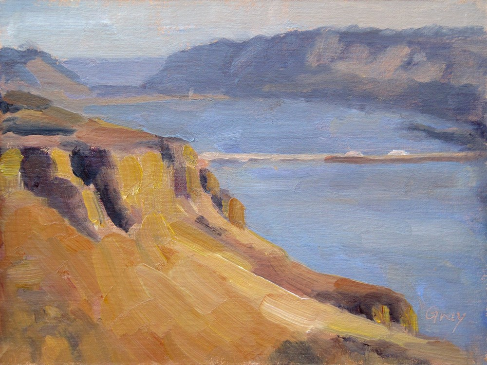 """Columbia River Lookout - Vantage Bridge No.1"" original fine art by Naomi Gray"