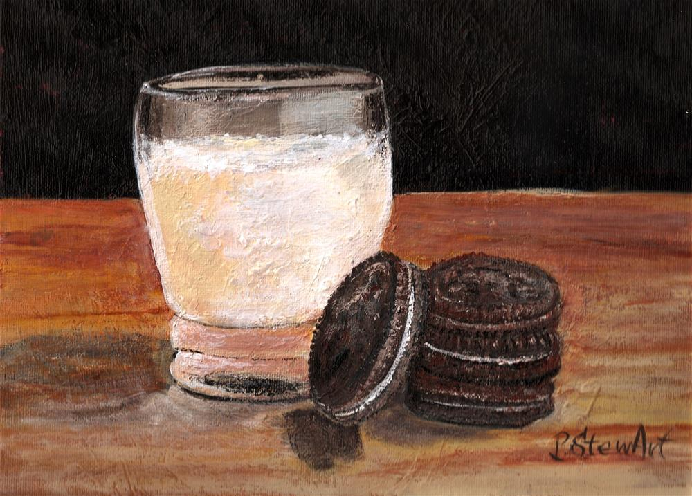 """9x12 Cookies and Milk Oreos Still Life Acrylic Food Painting SFA Penny StewArt"" original fine art by Penny Lee StewArt"