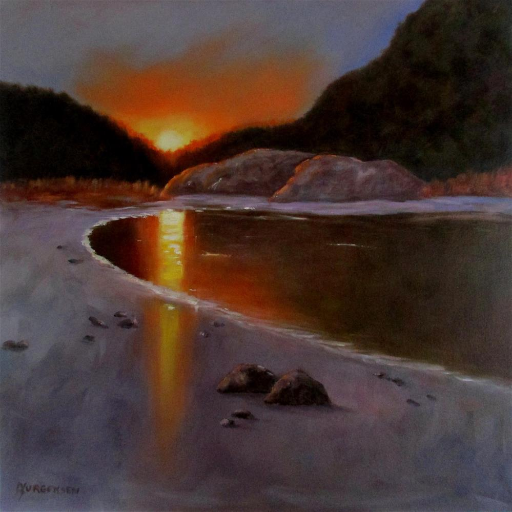 """30 x 30 inch oil Sunset at Crystal Cove"" original fine art by Linda Yurgensen"
