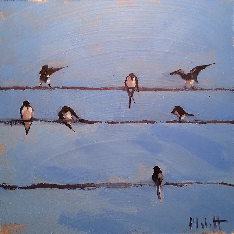 """Birds on a Wire Original Daily Oil Painting Contemporary"" original fine art by Heidi Malott"