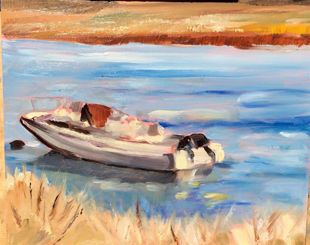 """Bolinas Lagoon Boat"" original fine art by Tamsen Armstrong"