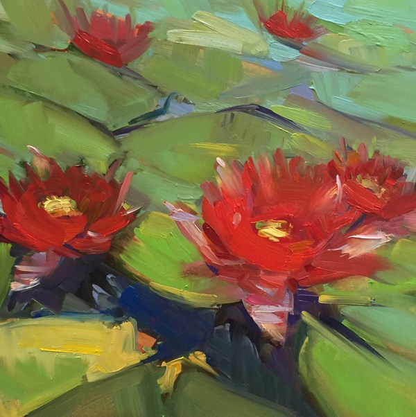 """Fancy's Flowering Lily Pads"" original fine art by Patti McNutt"