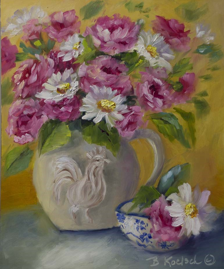 """Casual Carnations and Daisies"" original fine art by Bobbie Koelsch"