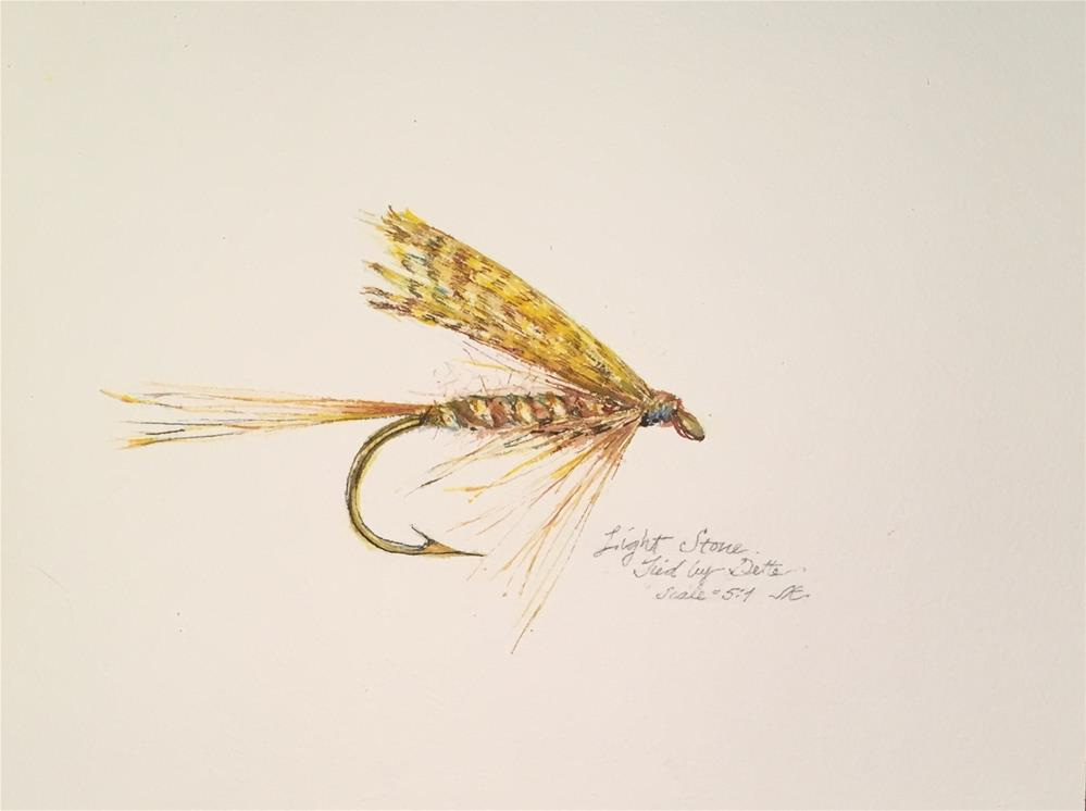 """Trout Fly - Light Stone by Dette"" original fine art by Jean Krueger"