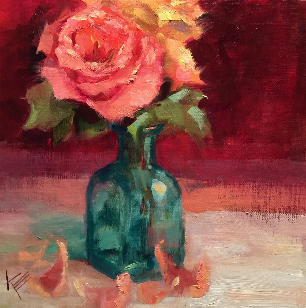 """Tea Rose in Turquoise vase"" original fine art by Krista Eaton"