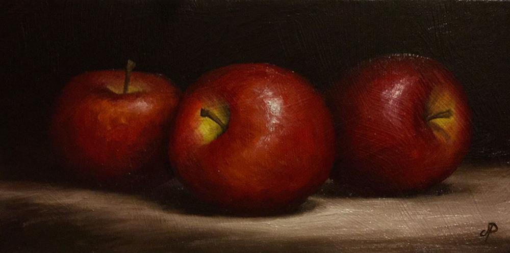 """Three Red Apples"" original fine art by Jane Palmer"