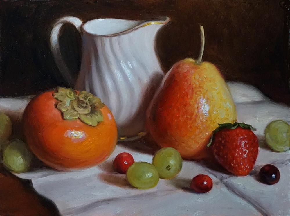 """Creamer with Persimmon and Pear"" original fine art by Debra Becks Cooper"