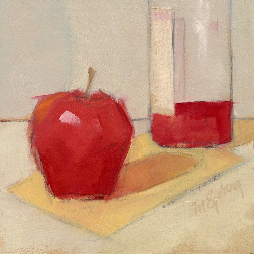 """Apple with Wine 2"" original fine art by Mitch Egeberg"