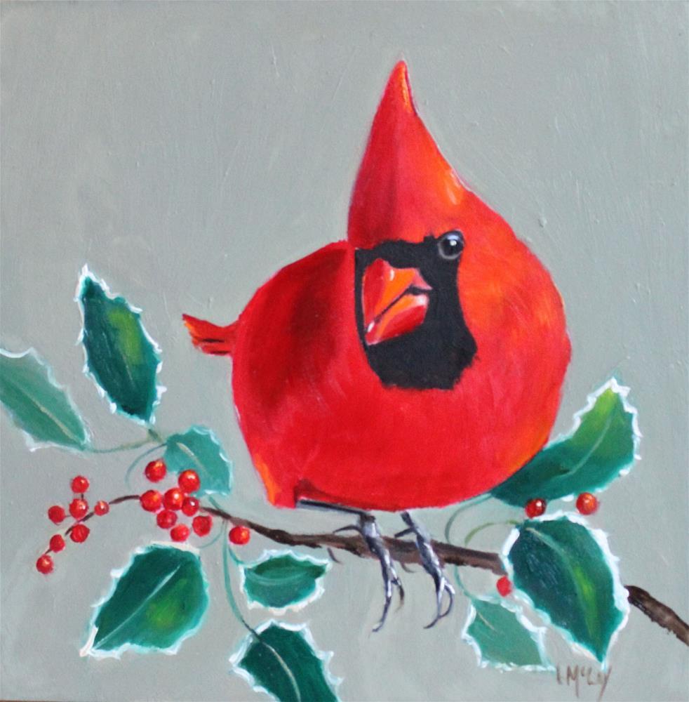 """Holly, Cardinal Bird Oil Painting"" original fine art by Linda McCoy"