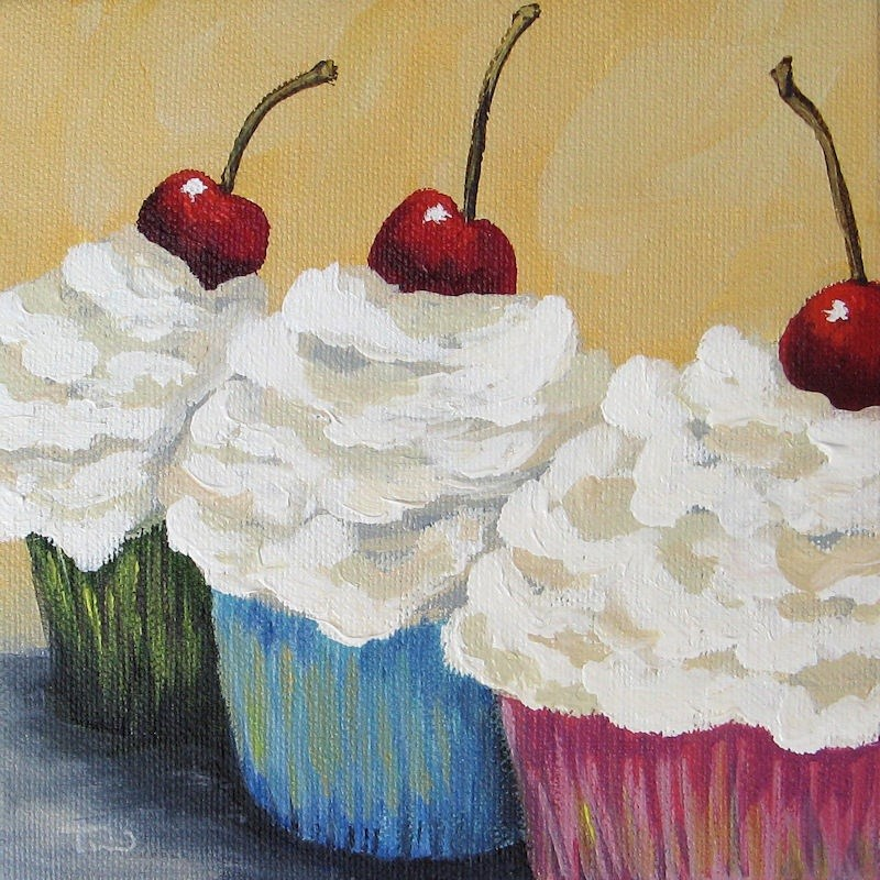 """Three Cupcakes"" original fine art by Torrie Smiley"