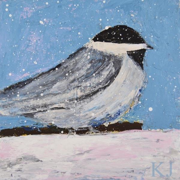 """Blue cottage chic chickadee bird painting No 23"" original fine art by Katie Jeanne Wood"