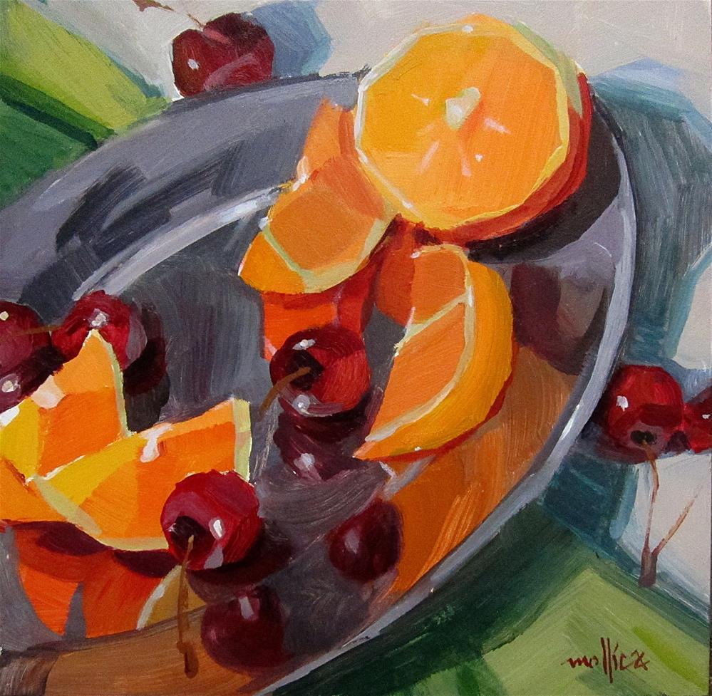 """""""Orange and Cherry Reflections"""" original fine art by Patti Mollica"""