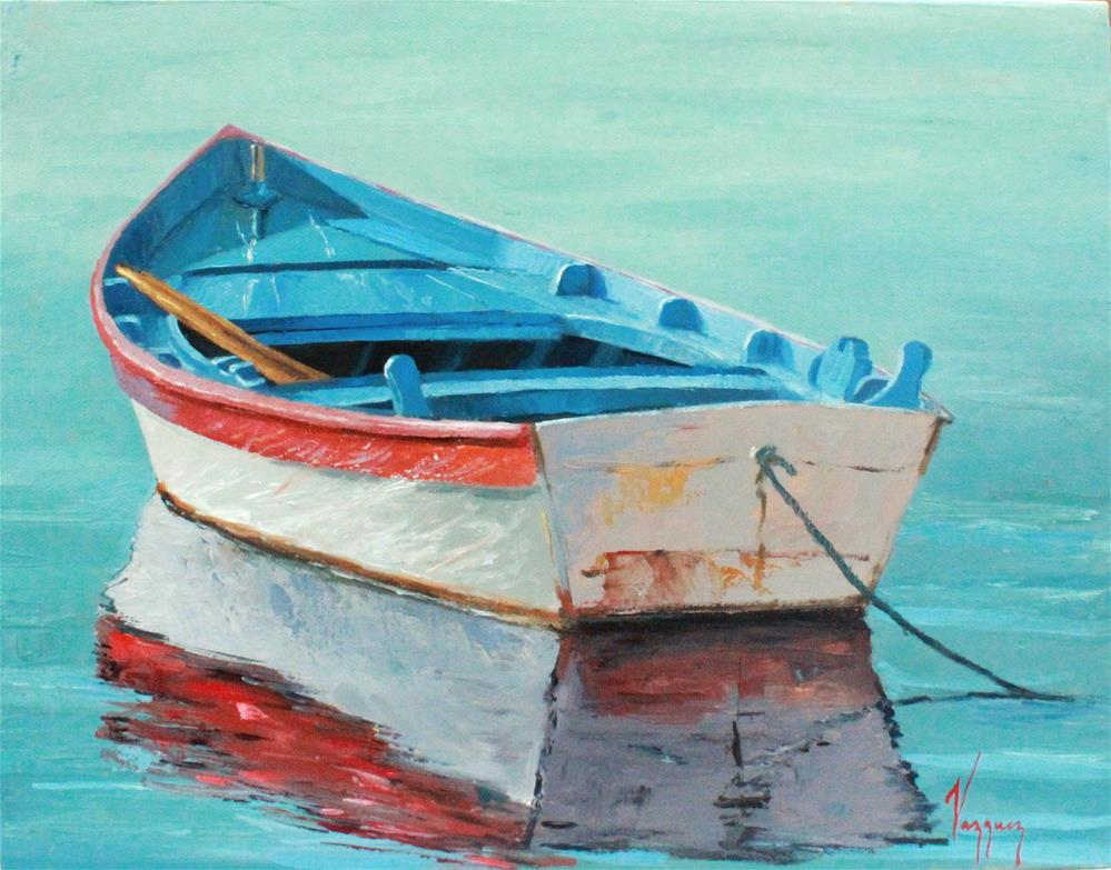 """Tied up boat"" original fine art by Marco Vazquez"