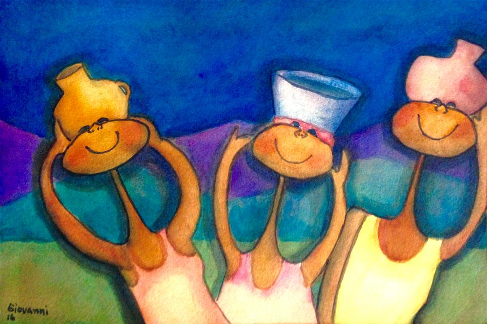"""Women carrying water"" original fine art by Giovanni Antunez"