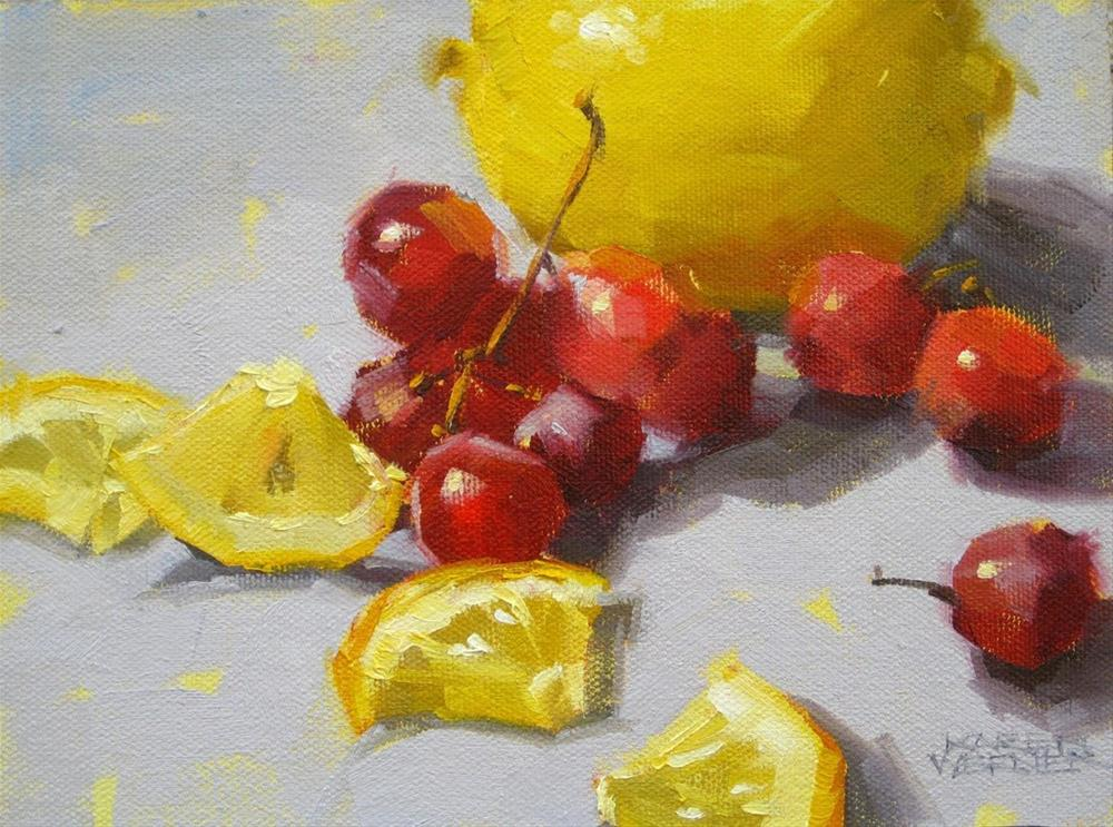 """Red Grapes & Lemon"" original fine art by Karen Werner"