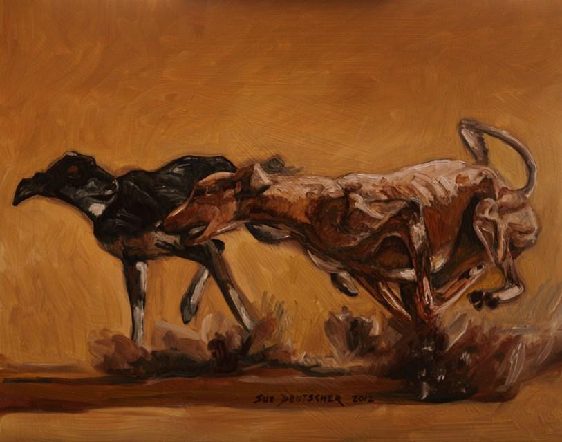 """""""Saluki Race"""" original fine art by Sue Deutscher"""