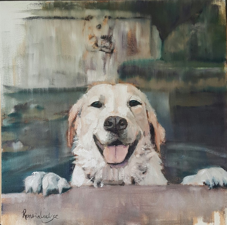 """Dusty having fun"" original fine art by Rentia Coetzee"