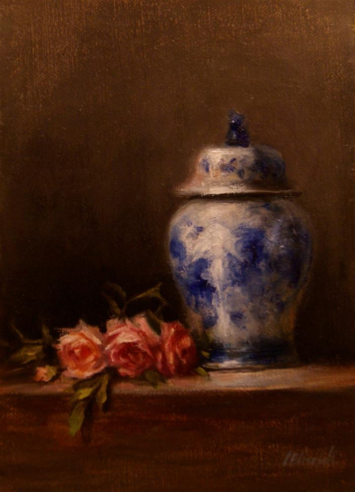 """Blue and White Ginger Jar with Roses,  Oil on 5x7 Linen Panel"" original fine art by Carolina Elizabeth"