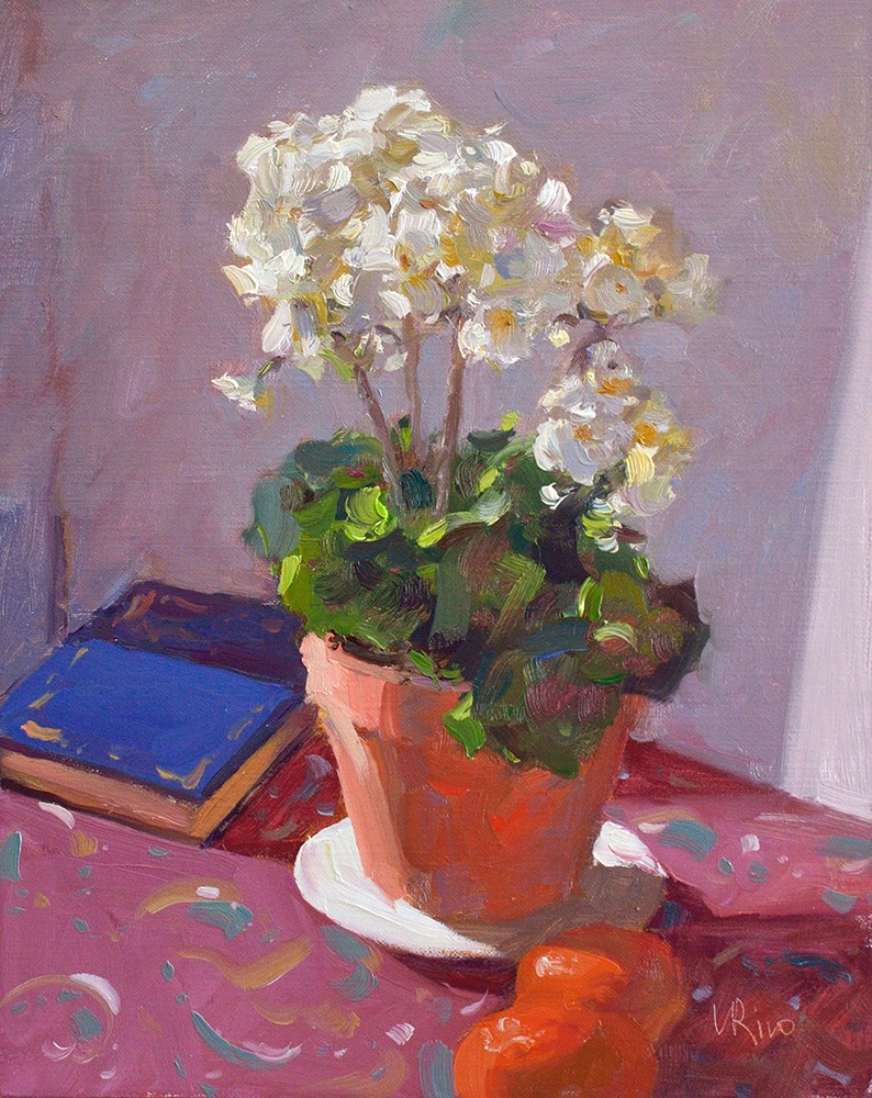 """Geranium in Sunlight"" original fine art by Lena  Rivo"