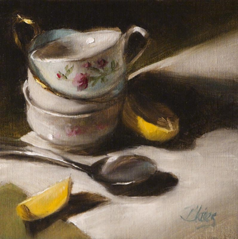 """Having Friends to Tea"" original fine art by Pamela Blaies"