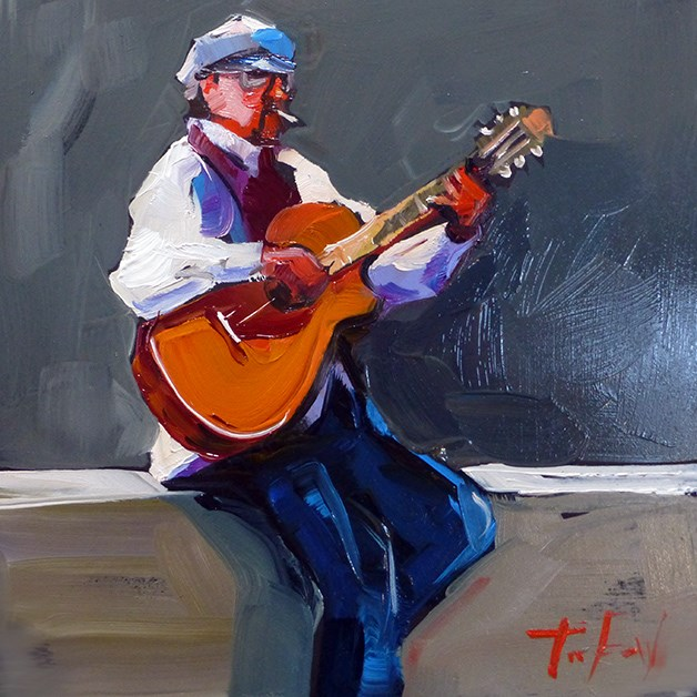 """Strassenmusiker"" original fine art by Jurij Frey"