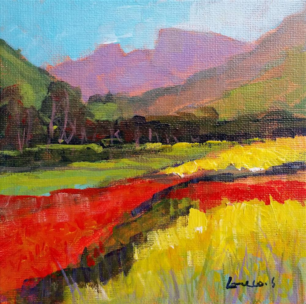 """landscape with red and yellow"" original fine art by salvatore greco"