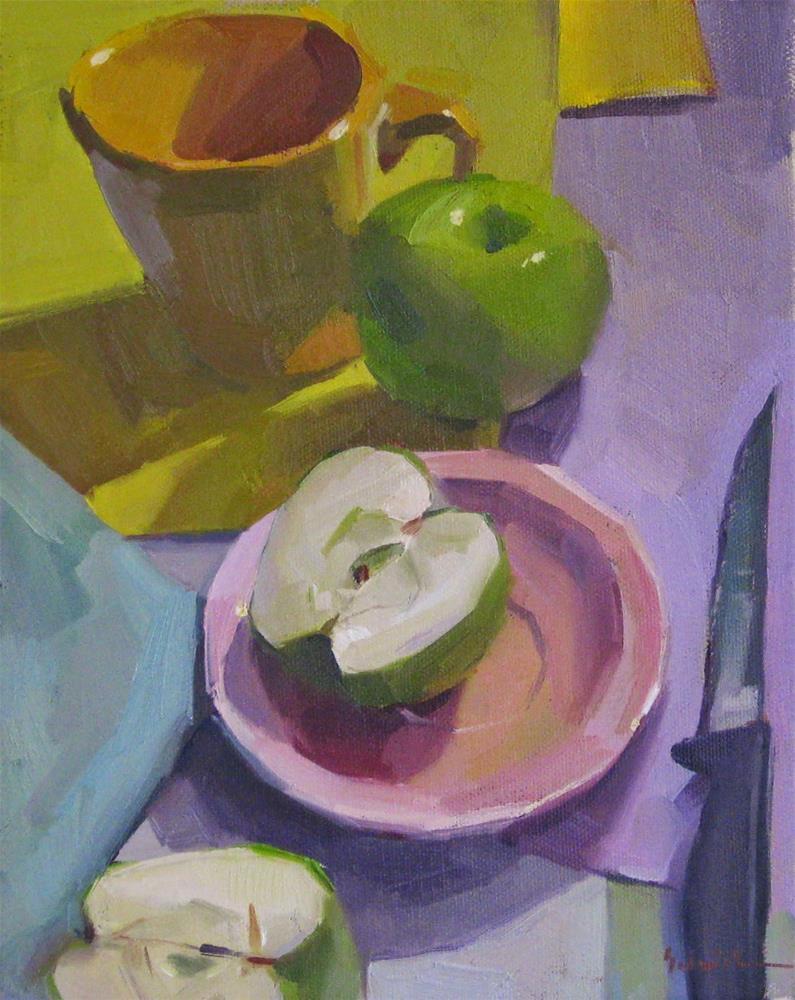 """Green Apples, Pink Plates"" original fine art by Sarah Sedwick"