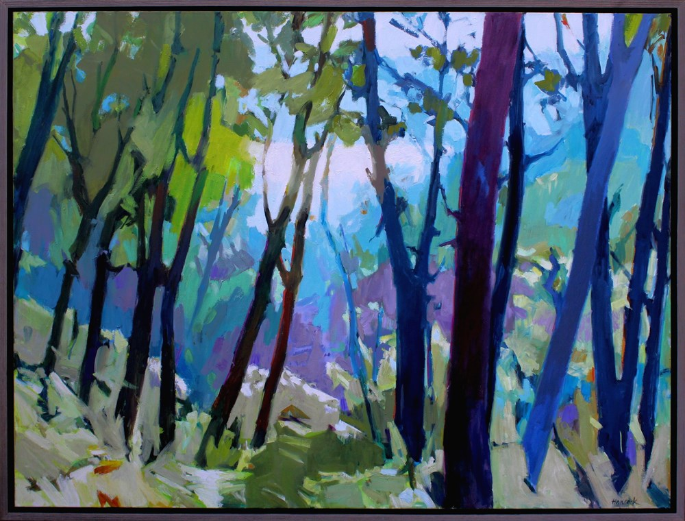 """Blue and Green Summer Madronas"" original fine art by Gretchen Hancock"