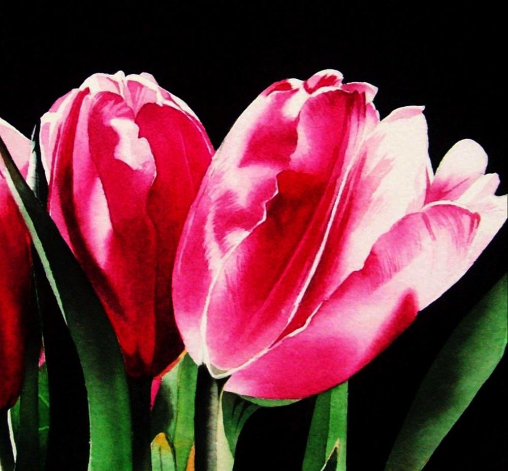 """Pretty in Pink - Tulips"" original fine art by Jacqueline Gnott, whs"
