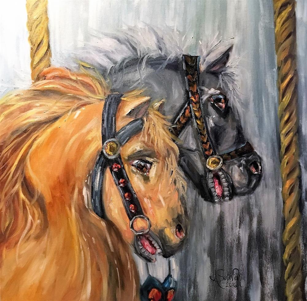 """""""One Wild Ride oil painting by Alabama Artist Angela Sullivan"""" original fine art by Angela Sullivan"""